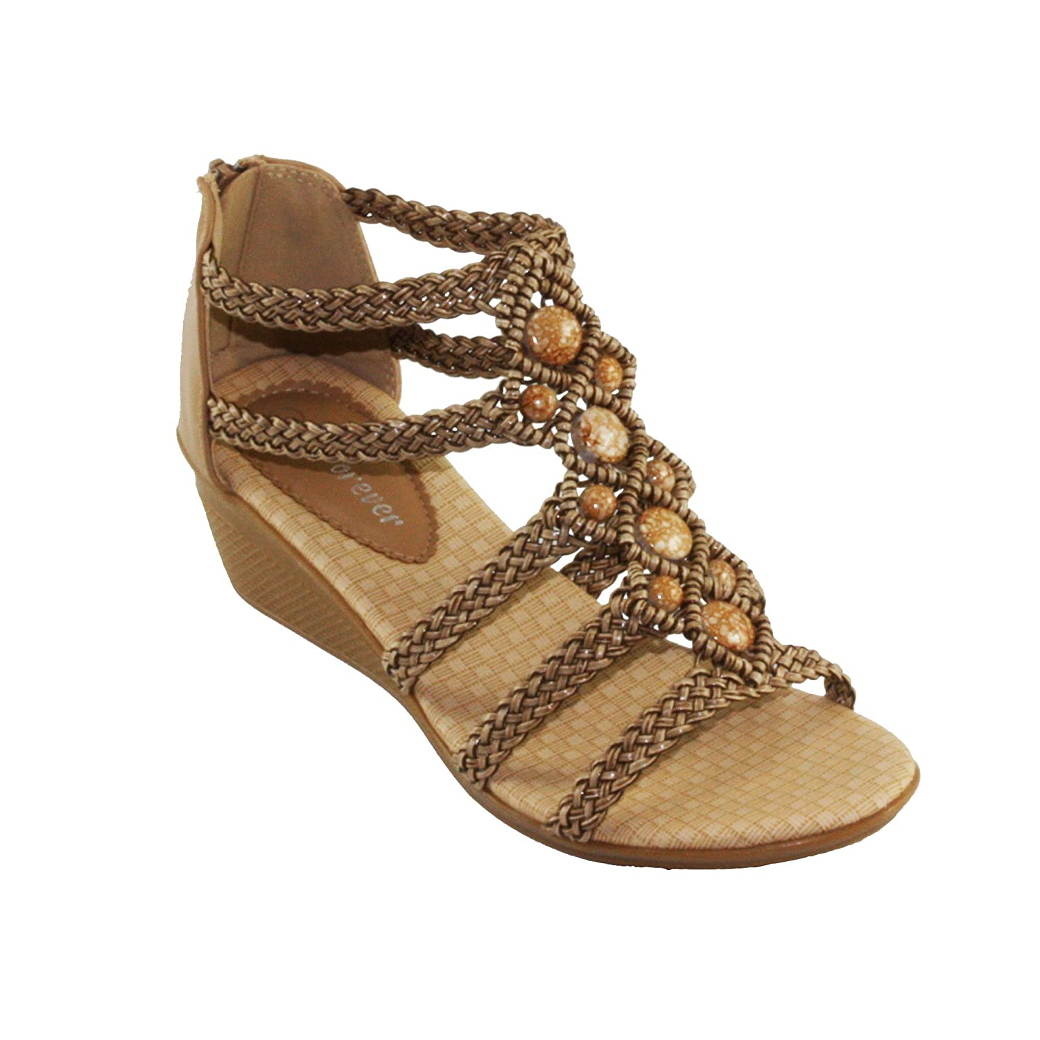 Forever Women's Paramount-11 Woven Strappy Low Wedge Heel Sandals B06XB8H81L 7.5 B(M) US|Taupe