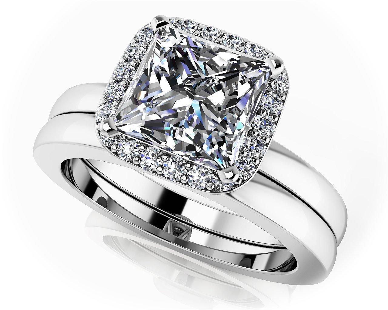 GIA Certified 14K White Gold (HallMarked) Perfect Halo Princess Cut Bridal Set Size - 6