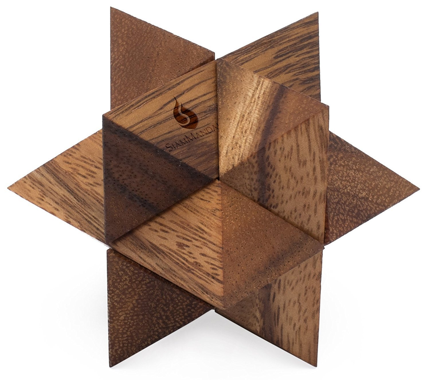 Shooting Star: Handmade & Organic 3D Brain Teaser Wooden Puzzle for Adults from SiamMandalay with SM Gift Box(Pictured)