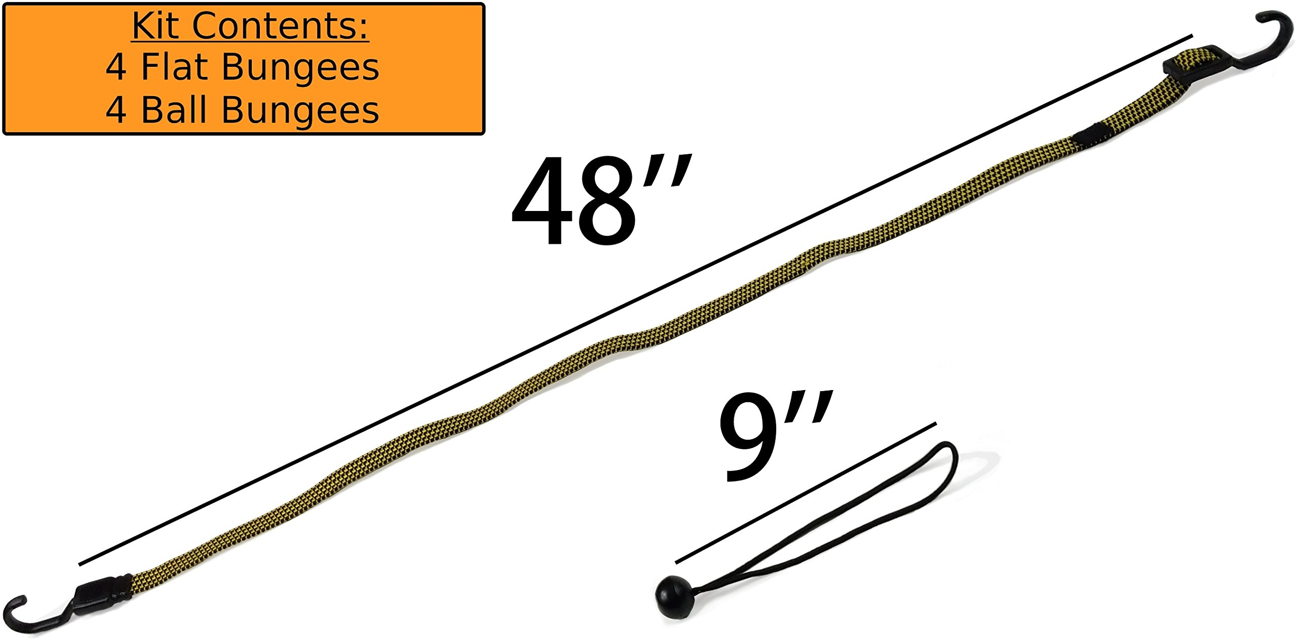 HeavyWeight Flat Bungee Cords 4 PACK with BONUS 4 Ball Bungees | 48'' INCH Total Length with Adjustable Length Hooks | Hand Carts, Dolly, Cargo, Moving, Camping, RV, Trunk, Luggage Rack, Tarp Tie Down by Heavy Weight (Image #4)