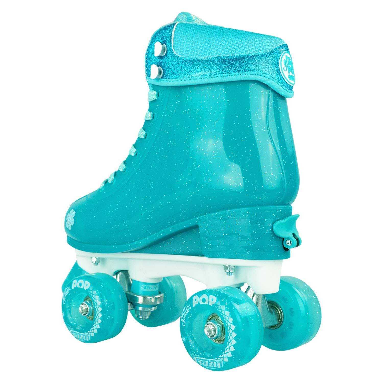 Crazy Skates Glitter POP Adjustable Roller Skates for Girls and Boys   Size Adjustable Quad Skates That Fit 4 Shoe Sizes   Teal (Sizes jr12-2) by Crazy Skates (Image #7)