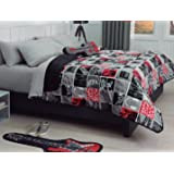 Pam grace creations rockstar 5 piece twin for Guitar bedding for boys