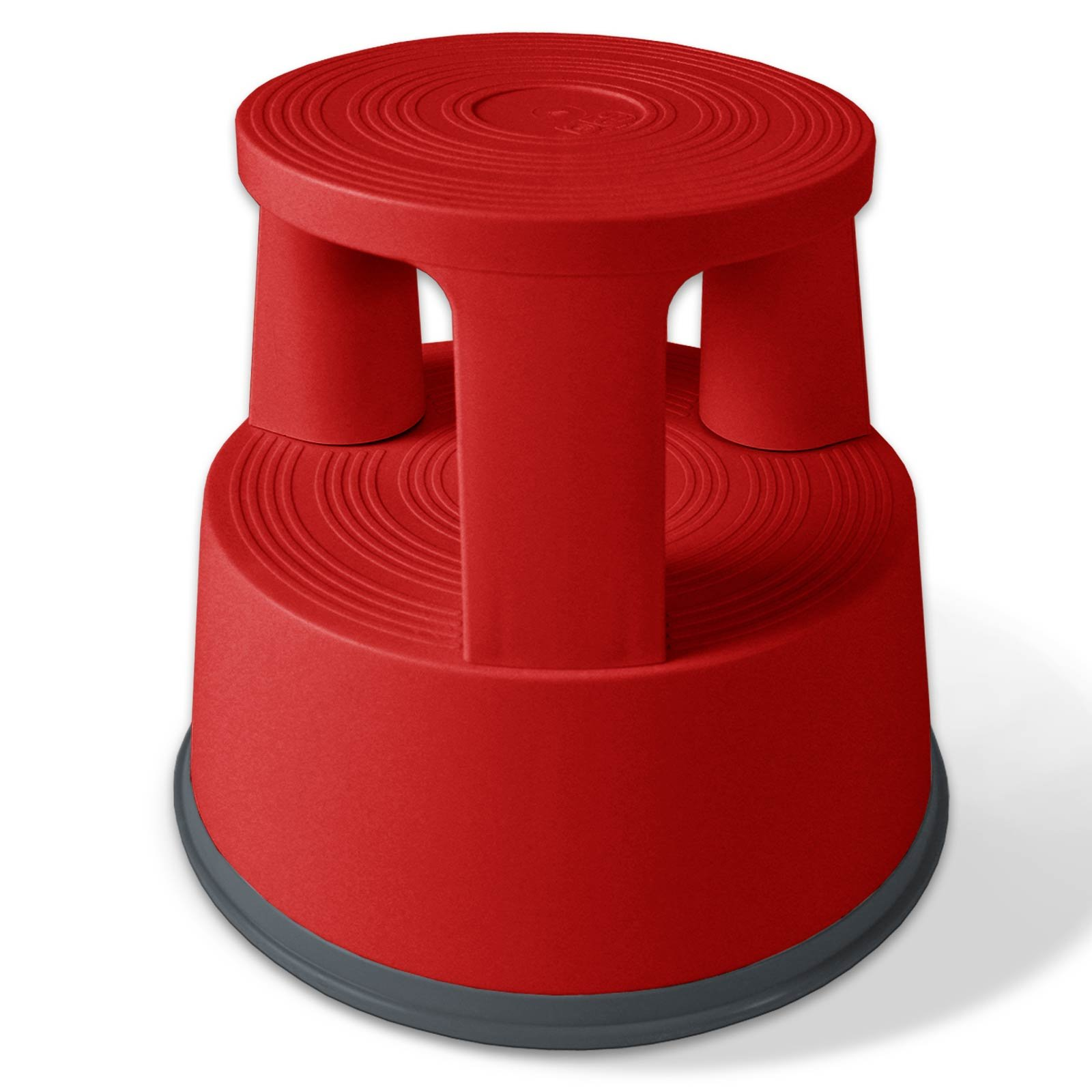casa pura Red Kick Stool   Rolling Step Stool with Spring Loaded Wheels   Dent-Proof Polypropylene   330 LB Load Capacity