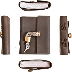 PRASTARA Leather Journal Blank Paper - Handmade Leather Bound Writing Notebook (6x4 in), for Men & Women, Poetry Journal, Journal Notebooks & Journals to Write in for Women, Mens Journal