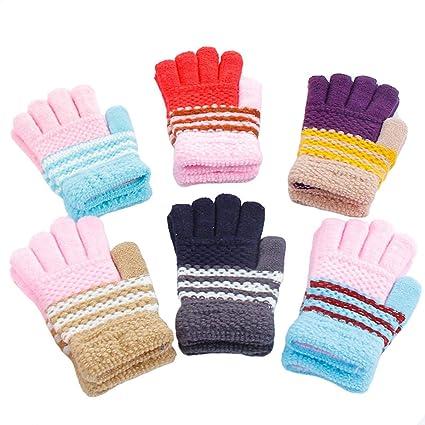 6 Paare Stretch Vollfinger Handschuhe,vollfinger Handschuhe Kinder,Winter Warme Strickhandschuhe f/ür Jungen und M/ädchen,kinderhandschuhe vollfinger