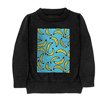 Hailin Tattoo Student Cool Fit Knit Sweater Pullover 3D Printed Banana Patterns Crew-Neck Adult Sweater S-XL Black