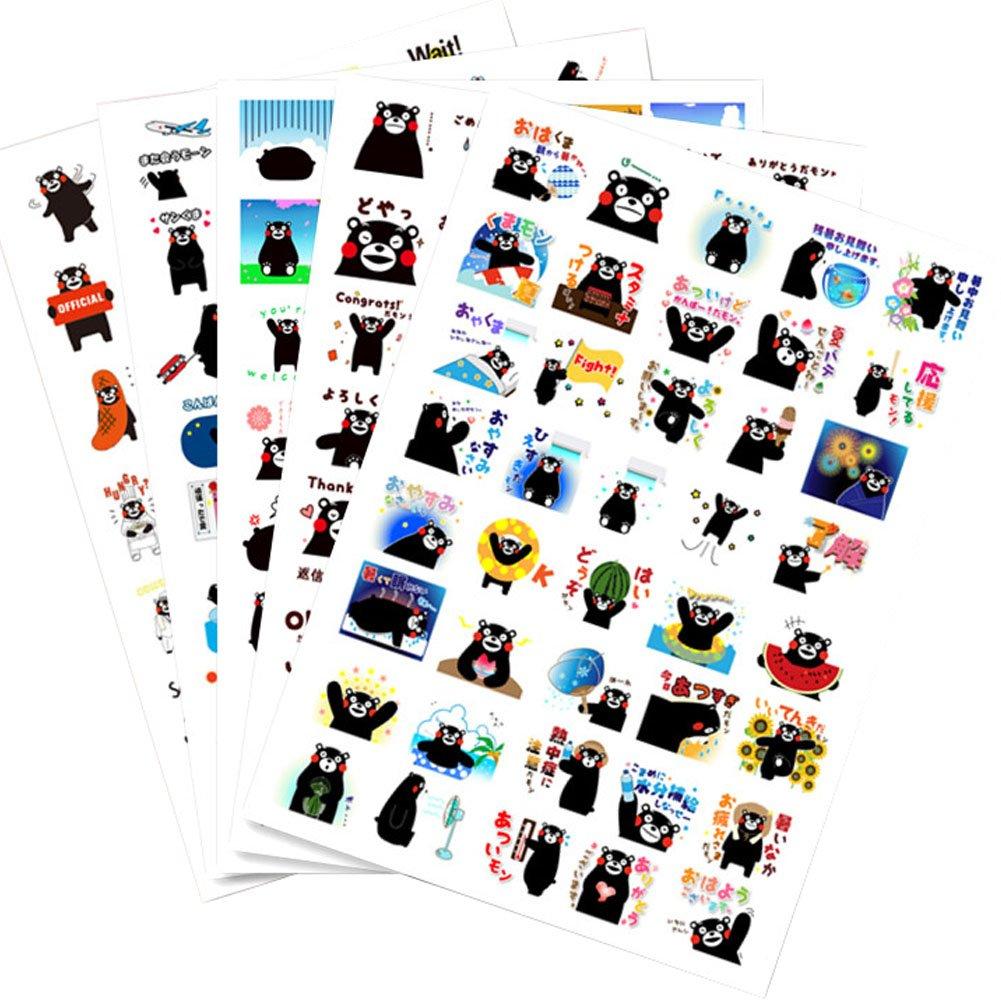 5 PCS Black Bear DIY Photo Album Diary Luggage Book Phone Stickers