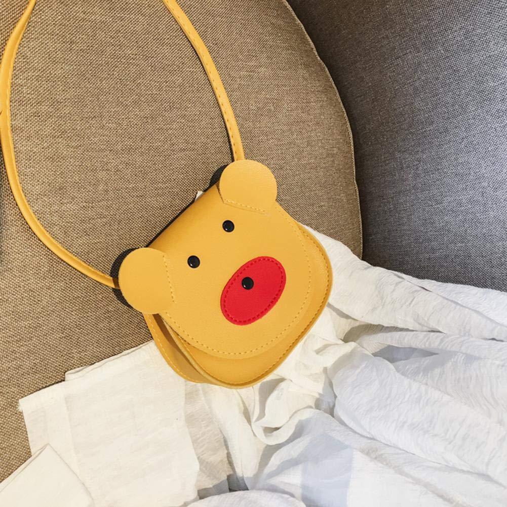 AFfeco Cute Kids Girls Shoulder Bags PU Leather Cartoon Bear Pattern Crossbody Bag