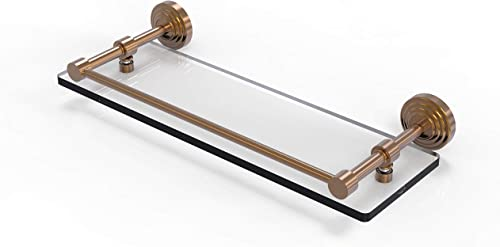 Allied Brass WP-1 16-GAL-BBR Waverly Place 16 Inch Tempered Gallery Rail Glass Shelf, 16-Inch, Brushed Bronze