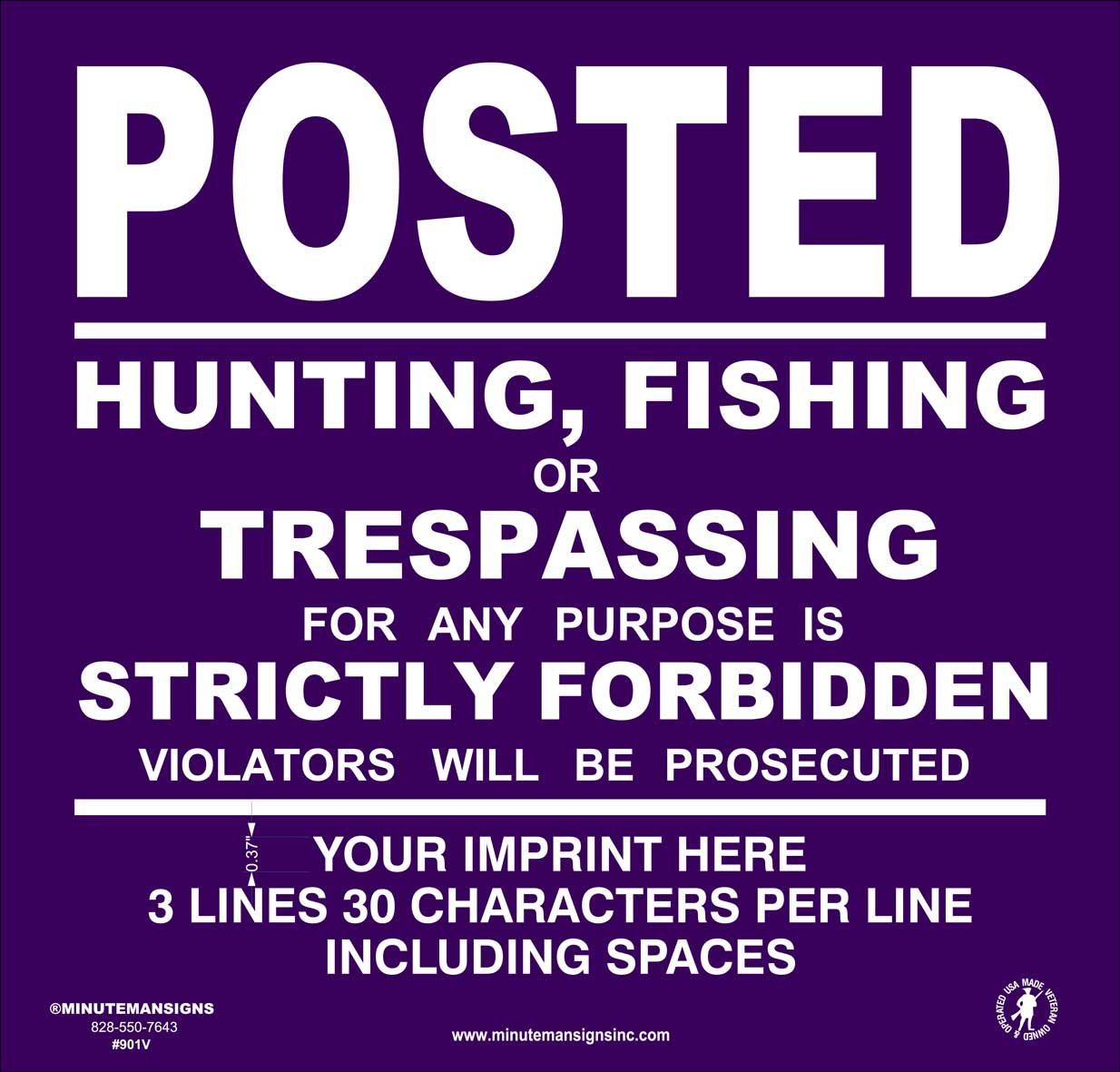 Heavy Gauge 13mil Vinyl Posted Signs with Your Custom Information (Purple)