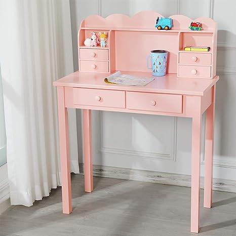 "31.5/"" Modern Pink Children 6 Drawers Study Writing Desk with Hutch /& USB Ports"