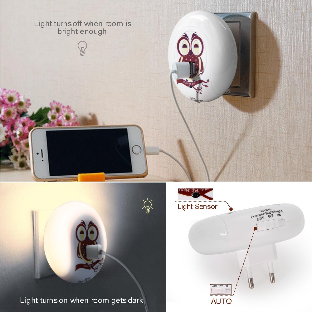 Owl Night Light Plug In, Cute Dusk to Dawn Nightlight W\' 5V 2A Dual USB Charger Outlet & Sound Sensor, Warm White Wall Plate LED Lamp for Nursery Hallway Bathroom Kids Bedroom Living Room