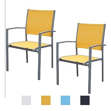 Wunderbar Jalano Gartenstühle Mit Armlehne Doppelpack Grauer Rahmen Gartenstuhl In  Verschiedenen Farben Wetterfest Stapelstuhl 2er Set Terrasse