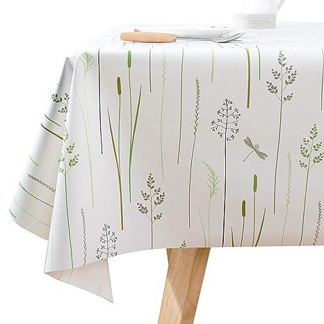 Bon Square Vinyl Oilcloth Tablecloth Water Resistant/Oil Proof Wipeable PVC  Heavy Duty Plastic Tablecloths