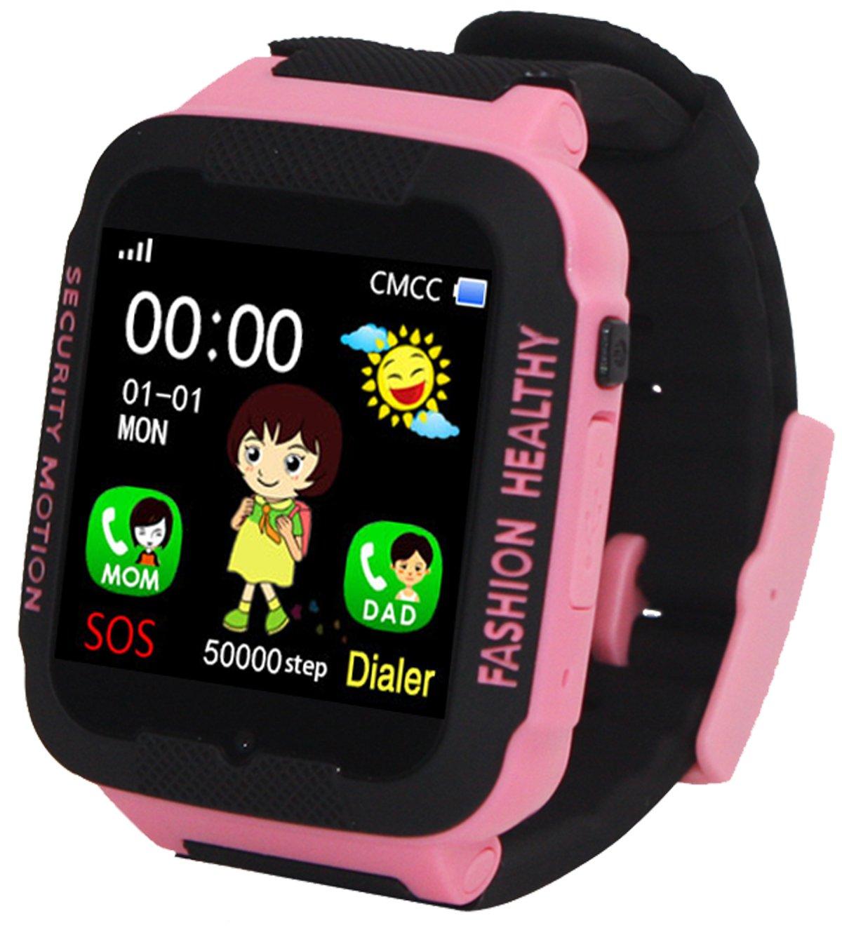 Kids Smart Watch Phone GPS Tracker Anti-Lost SOS Remote Wrist Watches for Children Girls Pink