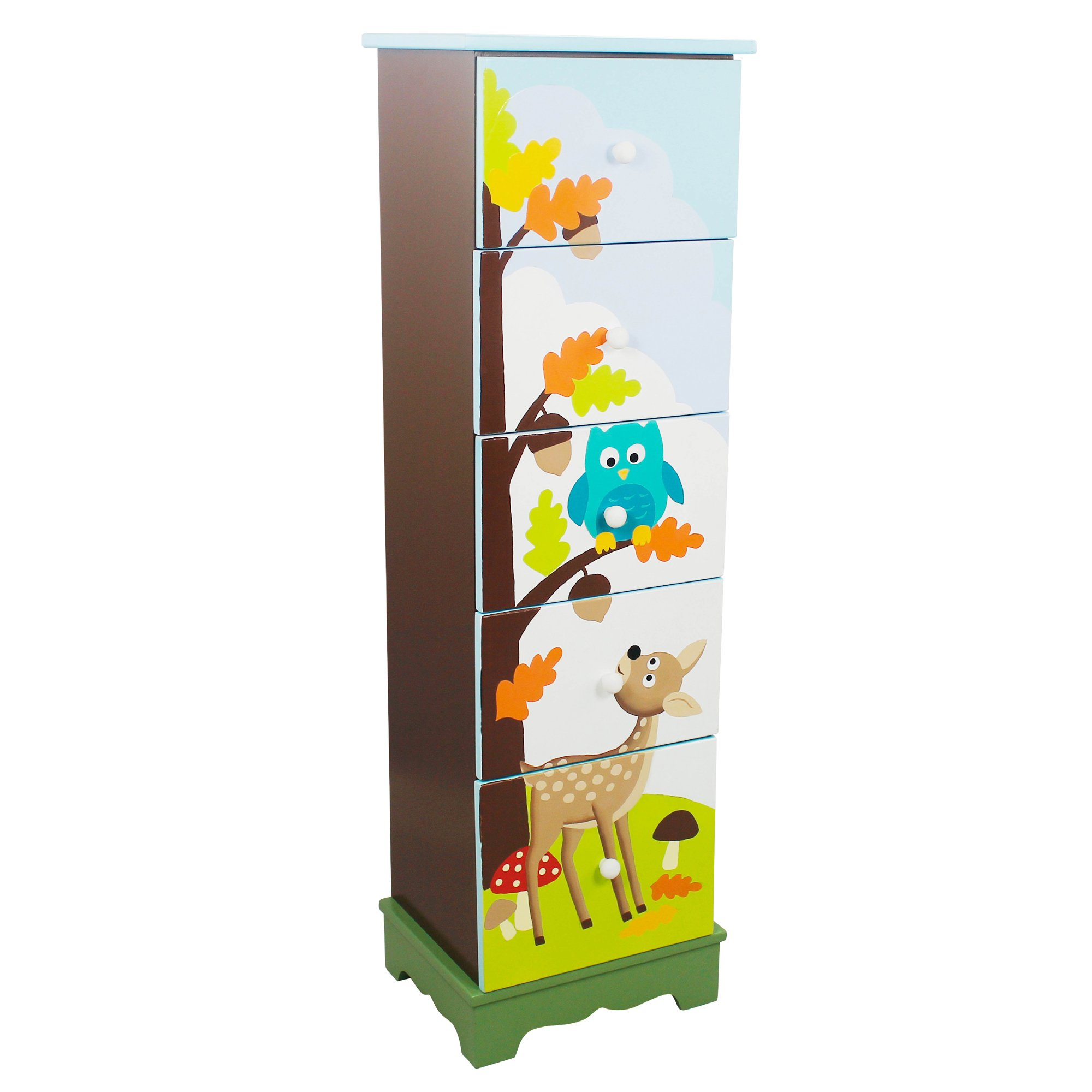 Fantasy Fields - Enchanted Woodland Thematic 5 Drawer Wooden Cabinet for Kids Storage | Imagination Inspiring  Hand Crafted & Painted Details | Non-Toxic, Lead Free Water-based Paint