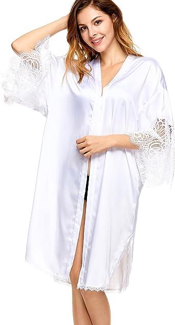 Dobreva Donna Pigiama Kimono Vestaglia Raso Corta Camice da Notte in Pizzo