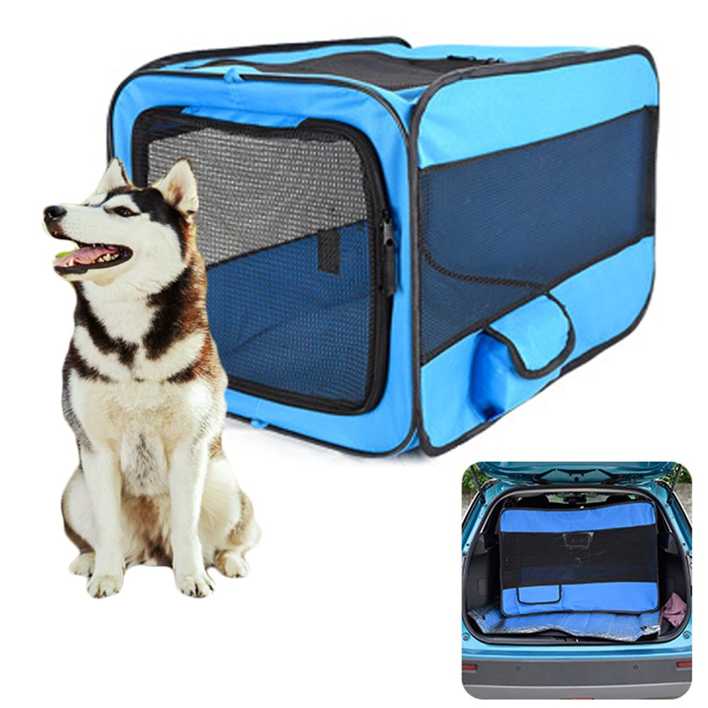 PetEnjoy Pet Carrier Crates Portable Expandable Soft Sided Kennel Car Seat Animal Travel Bag Carrier with Mesh Top Pop Up Cage for Dogs and Cats, Large