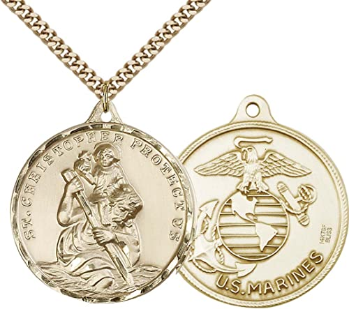 Stainless Steel Heavy Curb Chain 14kt Gold Filled St Patron Saint of Travelers//Motorists Christopher Pendant with 24 Gold Plated