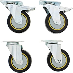 ABN Caster Wheel, 4in, Set of 4 – Heavy-Duty Swivel Stem Locking Casters with Hard Rubber Wheels for Furniture