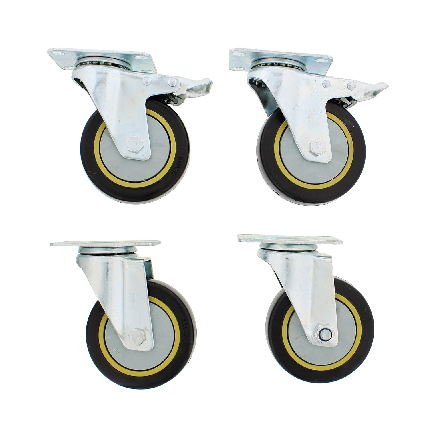 """ABN Caster Wheel, 4"""" Inches, Set of 4 – Heavy-Duty Swivel Stem Locking Casters with Hard Rubber Wheels for Furniture"""