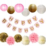 Paxcoo Pink and Gold Party Supplies with Happy Birthday Banner for Birthday Decorations