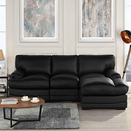 Black Leather Sectional Sofa Couch with Chaise, Modern Black L-Shape Wide Chaise Top Grain Leather Sectional Couch Sofa, Lounger Home Furniture Sectionals, Sofas Couches for Living Theater Room Sofa