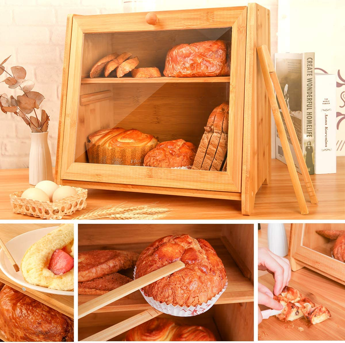 Bamboo Bread Box,2 Layer Bread Bin for Kitchen,Korean dustproof bread box for Kitchen,Large Capacity Wooden Bread Storage Holder,Countertop Bread Keeper with Toaster Tong,Self Assembly