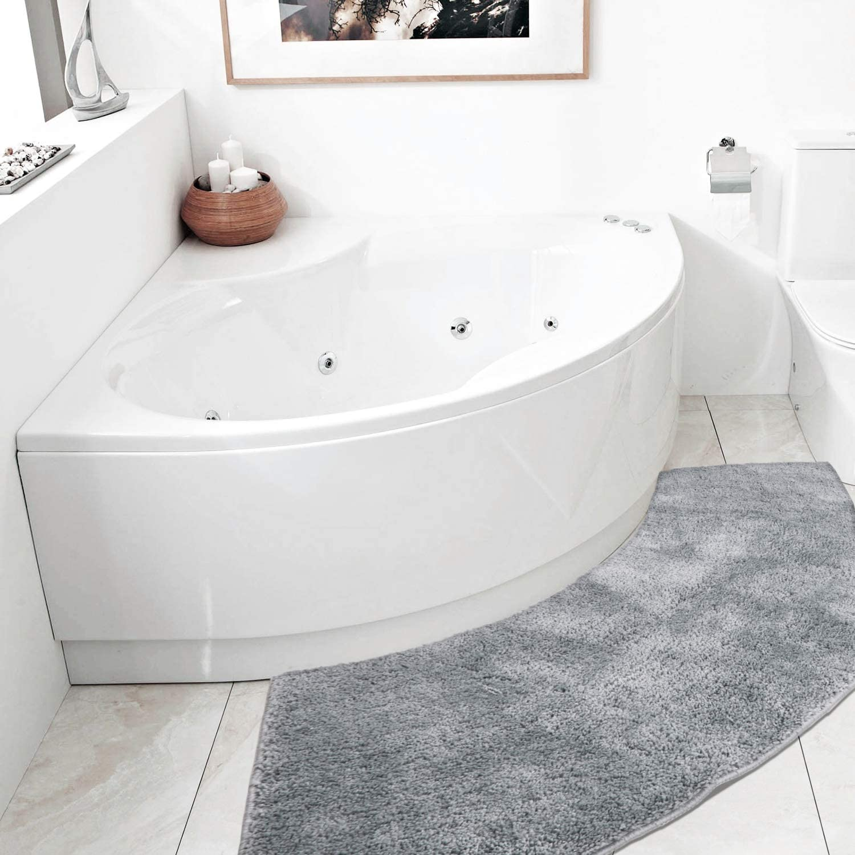 Seavish Luxury Warm Beige Shag Curved Bath Rug 18 x 30 inch Non Slip Microfiber Soft Absorbent Fanned Shower Mats Washable Bathroom Rug Corner Bath Tub Floor Carpet for Quadrant Shower Stall