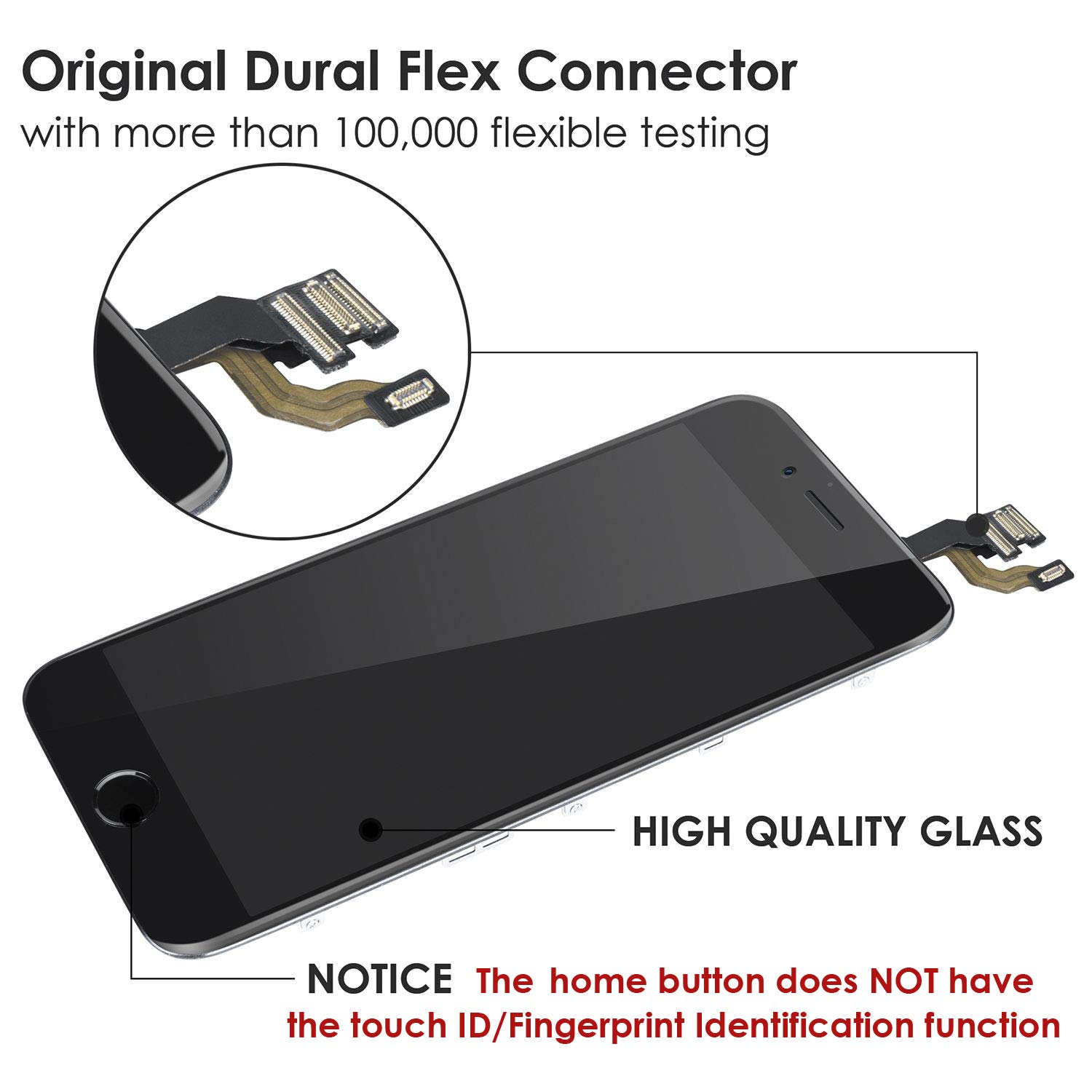 Front Camera Proximity Sensor Earpiece and Screen Protector Screen Replacement for iPhone 6 White 4.7 Inch LCD Display Full Assembly Touch Digitizer A1586 A1549 A1589 with Home Button