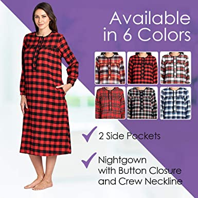 Ashford   Brooks Women s Flannel Plaid Long Sleeve Nightgown Sleepwear at  Amazon Women s Clothing store  3b8f4d233