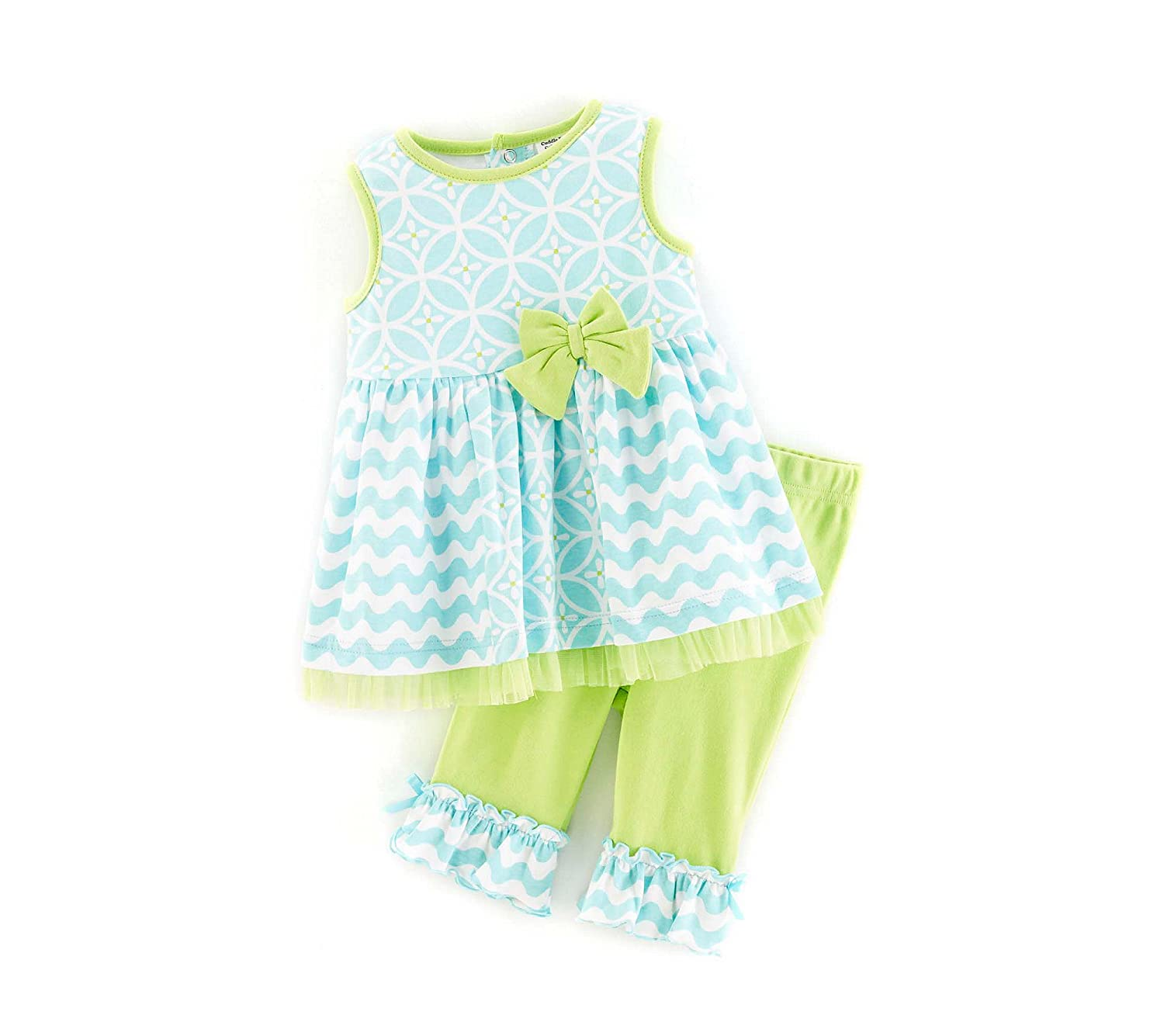 Cuddle Bear Baby Girls 2-Piece Printed Capri Set