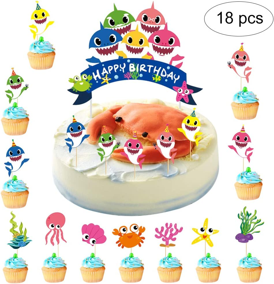Mity Rain Cute Little Shark Birthday Cake Topper-Shark Party Supplies Set/Sea World Shark Cupcake Picks for Baby shower Birthday Party Decorations (18Pack)