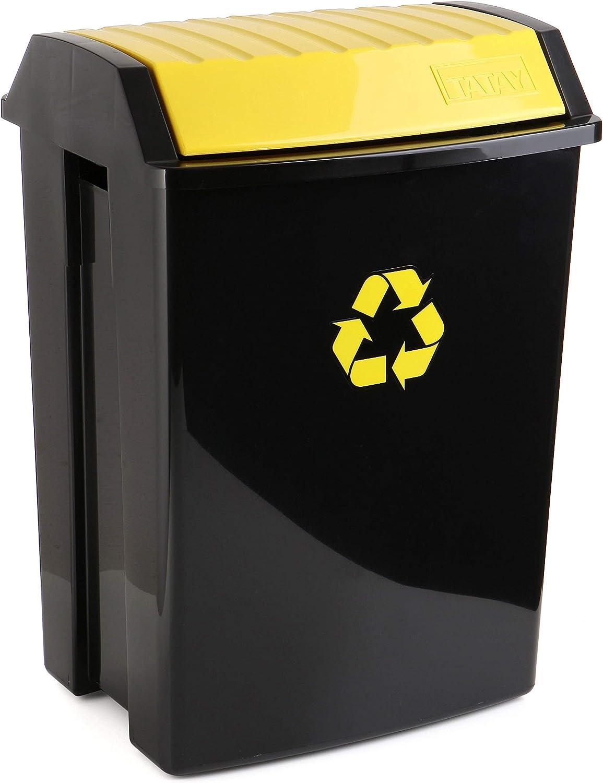 TATAY Contenedor de Reciclaje para envases y plástico, Capacidad para 50 litros, Plástico polipropileno, Tapa basculante, Amarillo y Negro, 40.5 x 33.5 x 57.5 cm