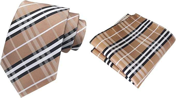 MOHSLEE Men Striped Plaid Suit Tie Handky Wedding Necktie Pocket Square Gift Set
