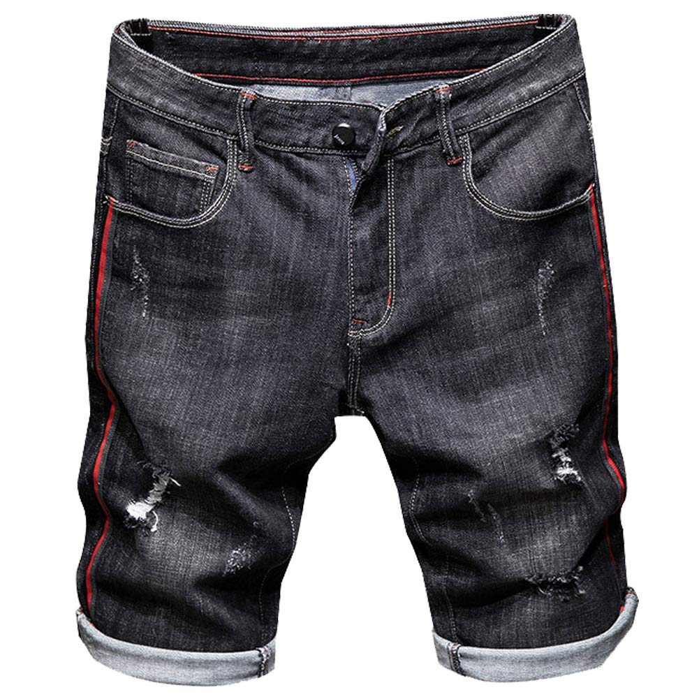 LIYT Mens Casual Denim Shorts Classic Straight Fit Distressed Summer Fashion Ripped Short Jeans