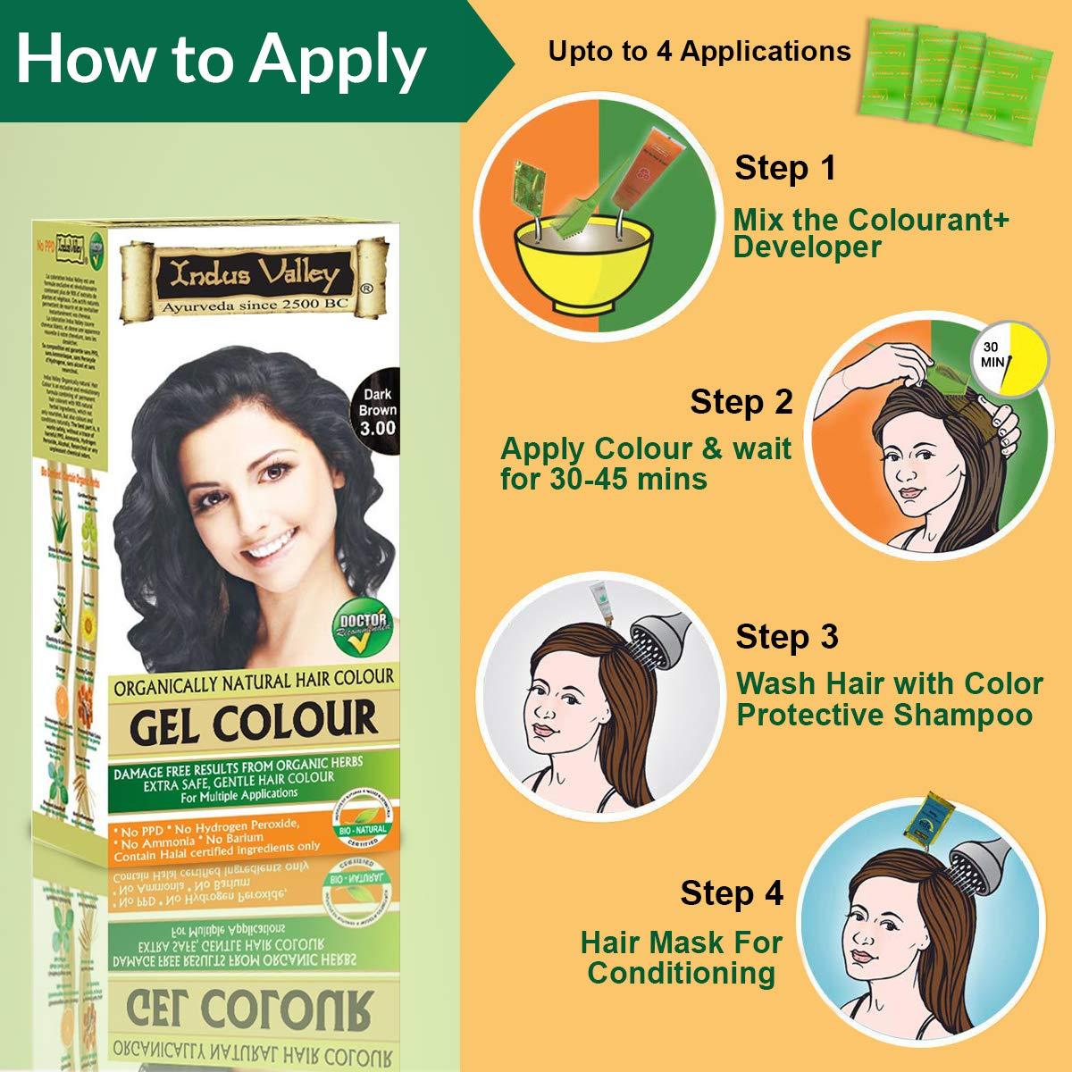 Indus Valley Permanent Herbal Gel Hair Colour Dark Brown
