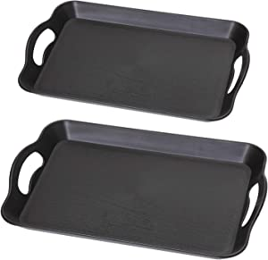 Black Large and Small Plastic Serving Trays with Handles Sturdy Acrylic for Breakfast Dinner Party Bar Restaurant Tea Coffee Durable Table Kitchen Food Trays for Eating