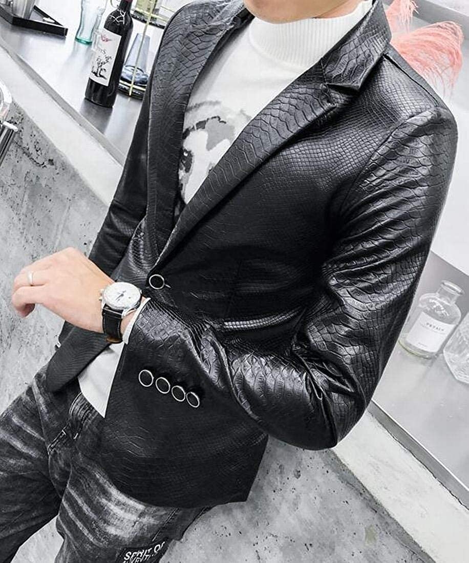 Fensajomon Men Regular Fit Pu Leather Lapel One Button Casual Fall /& Winter Dress Blazer Jacket Suit Coat