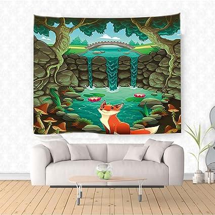 Amazon Com Nalahome Cartoon Fox Near The Pond Mushrooms Waterlilies