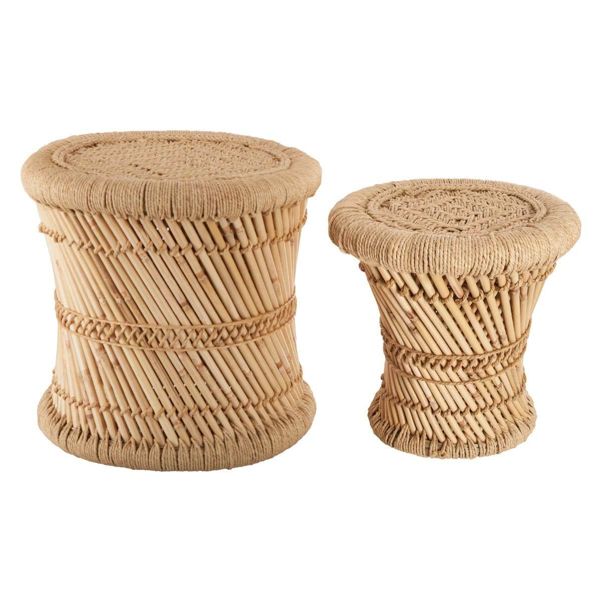 Set aus 2 niedrigen Satztischen aus Bast und Bambus - Nomadenstil - Farbe HOLZ