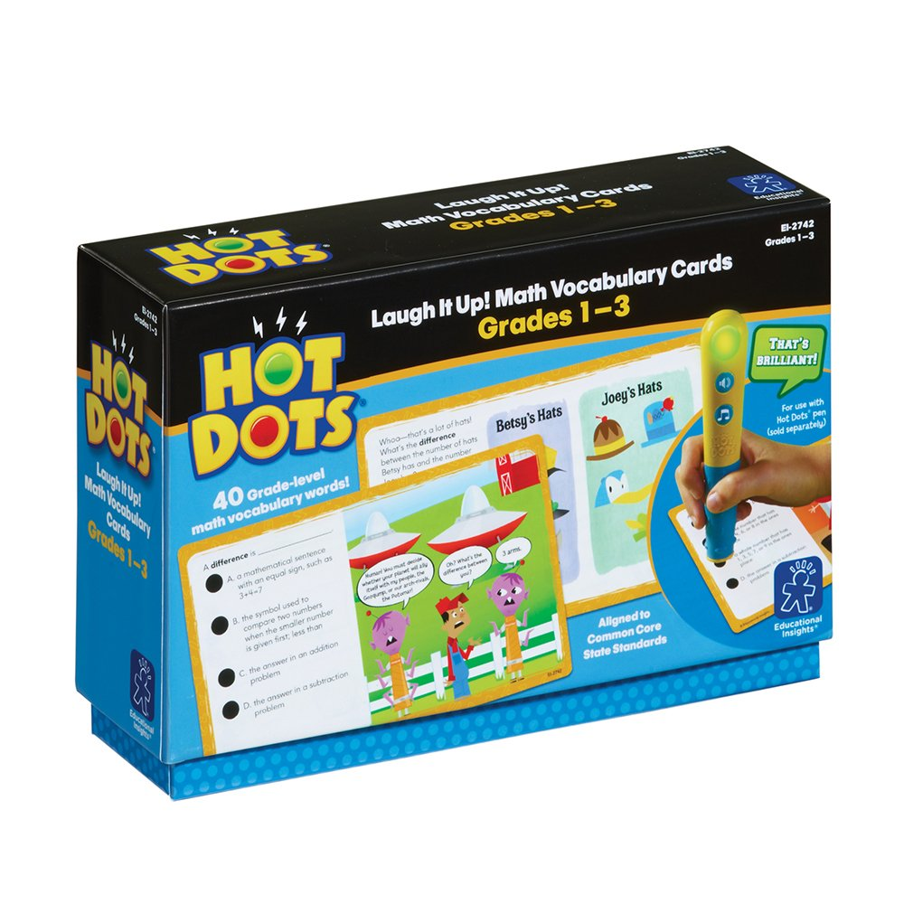 Grades 1 to 3 Educational Insights Hot Dots Laugh It Up Math Vocabulary Cards