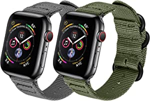 Watpro Compatible with Apple Watch Band 38mm 40mm 42mm 44mm Women Men Nylon Rugged Replacement iWatch Band Military-Style Buckle Grey Adapters for Sport Series 5 4 3 2 1 (2-Gray+Army green, 42MM/44MM)