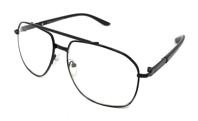 91910f20af3b WebDeals Retro - Clear Lens Square Metal Frame Aviator Glasses Non  Prescription (Black