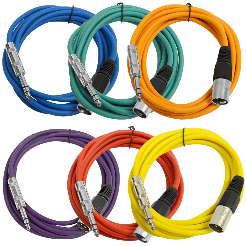 SEISMIC AUDIO - SATRXL-M10-6 Pack of Muliple Colored 10' XLR Male to 1/4'' TRS Patch Cables by Seismic Audio