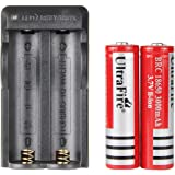 UltraFire 18650 Battery and Charger Rechargeable Lithium Battery 3000mAh MAX 3.7V (2 Pack) and Li-ion Battery Charger for Handheld Flashlight Torch