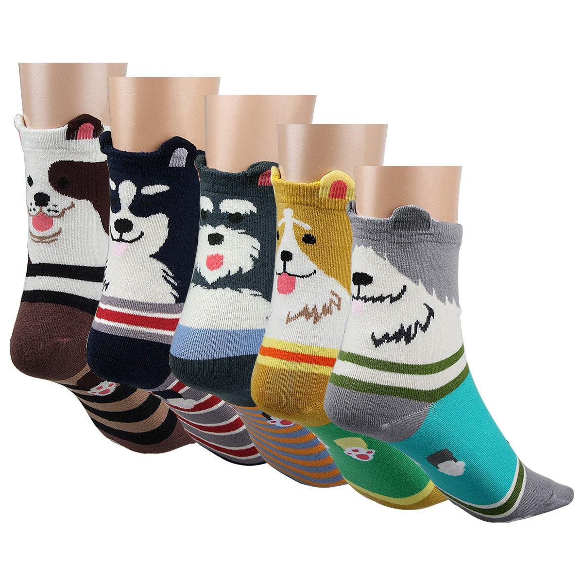 Posher TM FL6 Womens 5 Pairs Cartoon Cute Dog Socks Lovely Animal Cotton Socks For Women