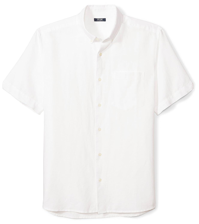 Isle Bay Linens Mens Standard Fit Short Sleeve Linen Cotton Button-Down Shirt