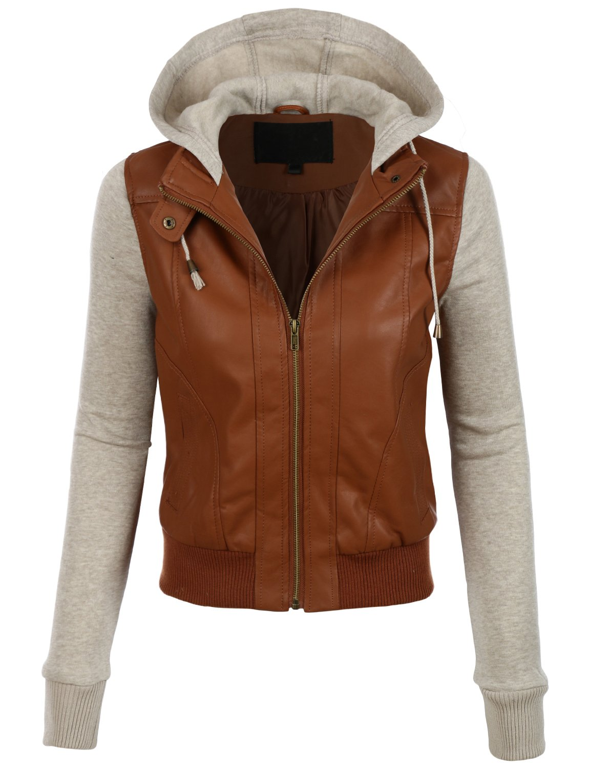 LE3NO Womens Faux Leather Moto Bomber Jacket with Fleece Hoodie by LE3NO