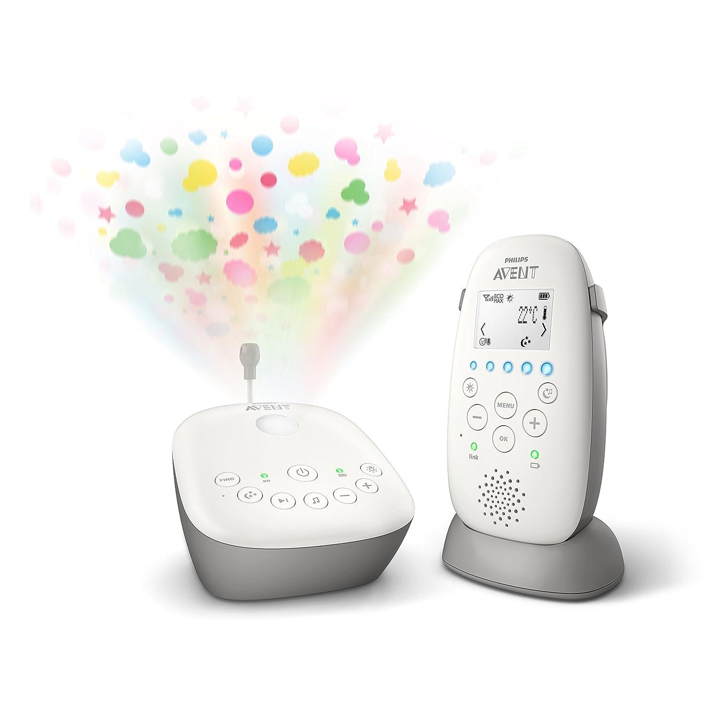 Philips AVENT SCD733/00 Babyphone DECT - Mode Smart ECO, Ecran LCD, Socle de charge, Alerte vibration et pleure, Mode nuit, Projecteur d'étoiles Projecteur d' étoiles PHIDK